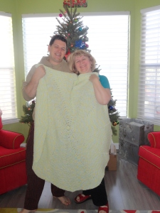 Dan and His Mom with the Blanket She Knitted for Him