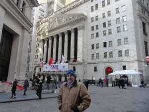 Dan on Wall Street in Front of the NYSE. He's COLD!