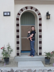 Vivian and Mama at Our New Front Door