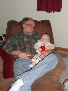 Vivian Napping with Papa