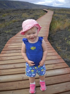 Our Little Hiker at the Pu'u Loa Petroglphys