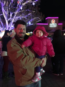 Daddy and Daughter at the Disney Light Show