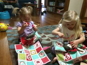 Cousins Playing with Handmade Gifts from Grandma