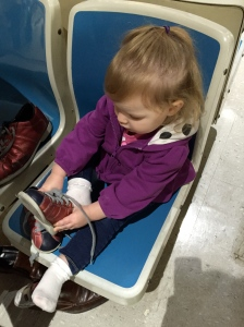 Putting Her First Pair of Bowling Shoes On (By Herself, Of Course)