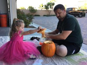 Carving Pumpkins in a Pretty Dress