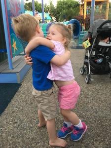 Friends Hugging Goodbye